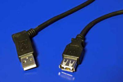 Kabel USB 2.0 A-A 15cm prodlužovací, lomený vlevo, černý