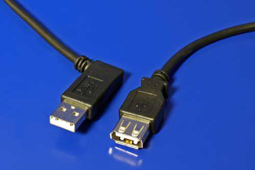 Kabel USB 2.0 A-A 30cm prodlužovací, lomený vpravo, černý