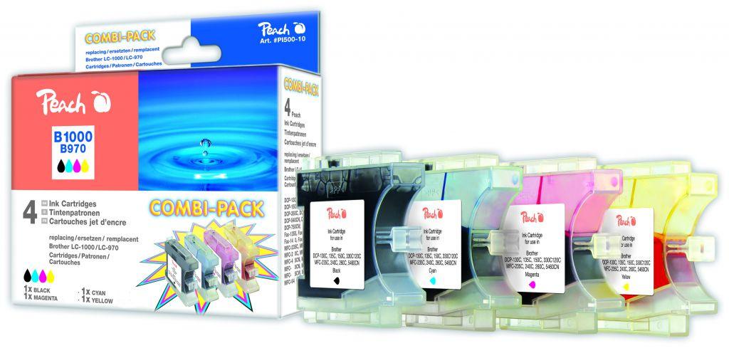 Inkoust Peach LC-1000BkCMY/970XL Combi Pack kompatibilní barevné+černý PI500-10 pro Brothe