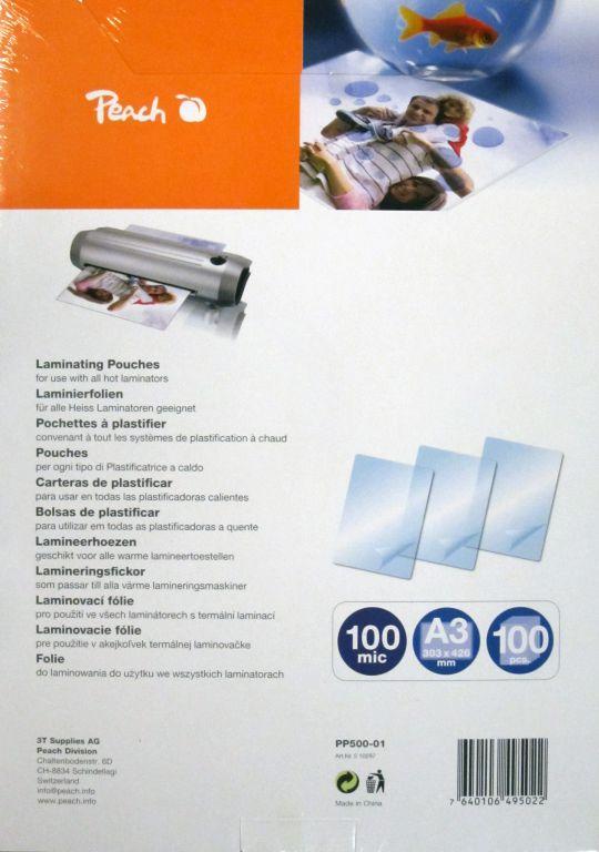 Laminovací fólie Peach PP500-01 lesklé 100ks A3, 100mic
