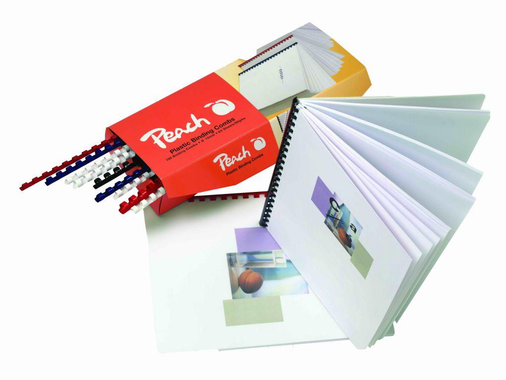 Vázací hřbet Peach plastový A4 průměr 6mm bílý 100ks (PB406-01)