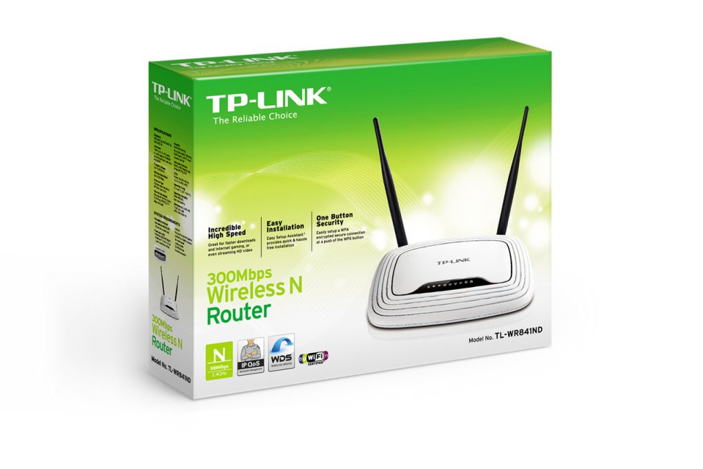 WiFi router TP-Link TL-WR841ND AP/router, 4x LAN, 1x WAN (2,4GHz, 802.11n) 300Mbps