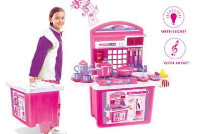 Dětská kuchyňka G21 s příslušenstvím v kufru růžová