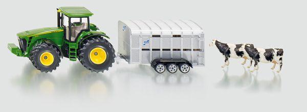 Hračka Siku Super Traktor John Deere s přívěsem pro přepravu dobytka vč. 2 krav, 1:50