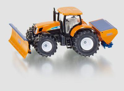 Hračka Siku Super Traktor s přední radlicí a sypačem soli, 1:50
