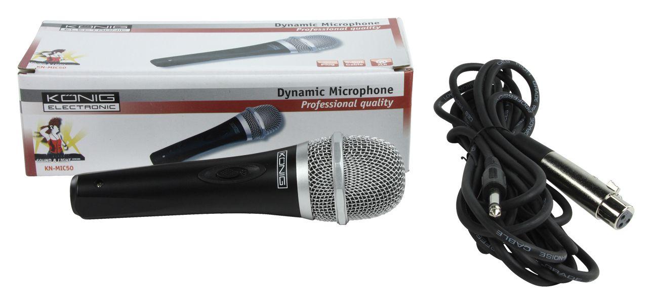Mikrofon KÖNIG  XLR, 50 Hz - 15 kHz, černý
