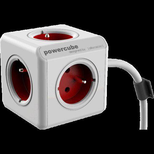 Zásuvka PowerCube prodlužovací přívod 1,5m - 5ti zásuvka - červená, max. 3680W, 220-240V,