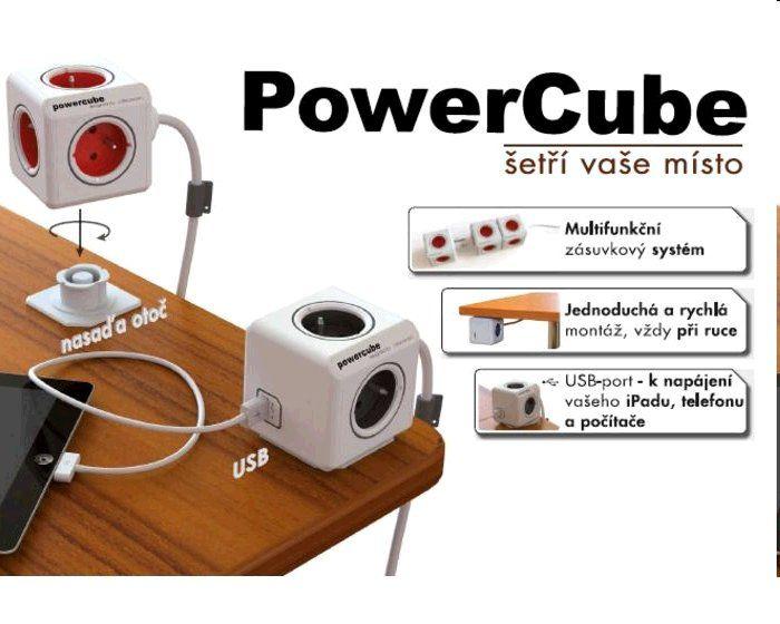 Zásuvka PowerCube prodlužovací přívod 1,5m-4zásuvka+2xUSB, hnědá/šedá, 3500W, 220-240V, 16