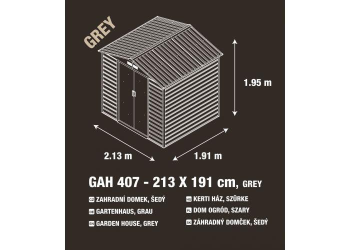 Zahradní domek G21 GAH 407 - 213 x 191 cm, šedý