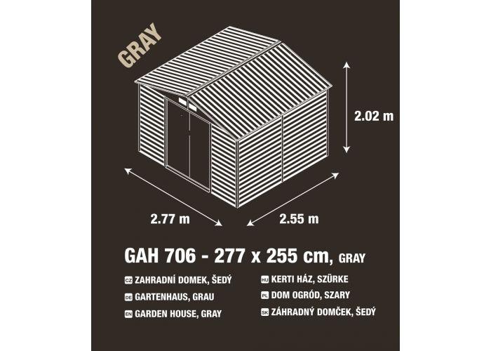 Zahradní domek G21 GAH 706 - 277 x 255 cm, šedý