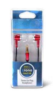 Sluchátka crono E14R 'stylová sluchátka - špunty barva červená, JACK 3,5mm, kabel 120cm