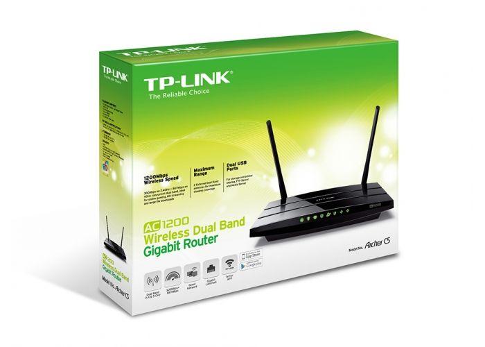 WiFi router TP-Link Archer C5 AC1200 dual AP, 4x GLAN, 2x USB/ 300Mbps 2,4/ 867Mbps 5GHz