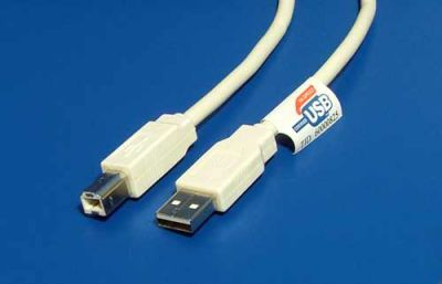 Kabel Value USB 2.0 A-B 3m, bílý/šedý