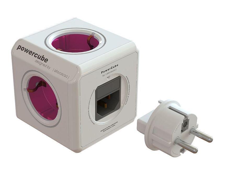 Zásuvka PowerCube REWIRABLE PWC-RWPL rozbočka-5ti zásuvka - růžová, 2300W, 220-240V, 10A