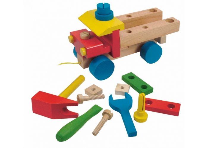 Hračka Woody Montážní auto s provázkem