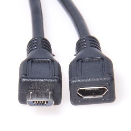 Kabel prodlužovací micro USB 2.0 male-female černý 2 m