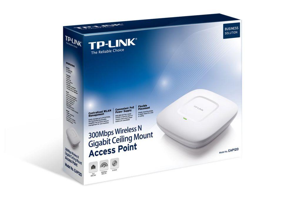 WiFi router TP-Link EAP120 stropní AP/client/bridge/repeater, 1x Gigabit WAN, (2,4GHz, 802.11n) 300Mbps