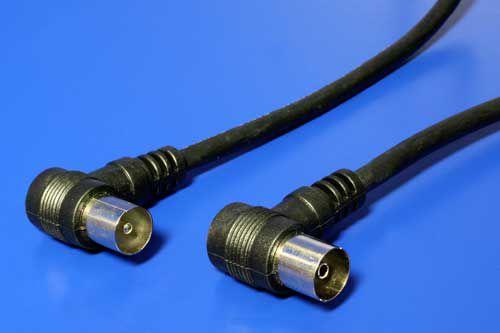 Kabel 75 Ohm, IEC169-2, M-F, 2,5m, lomený na obou koncích 90° , černý