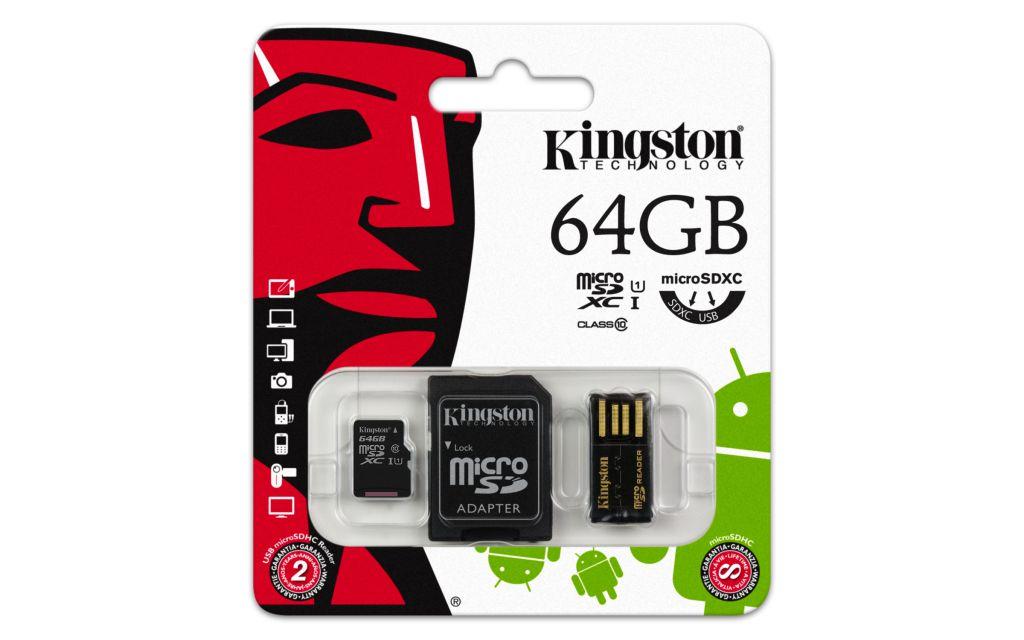 Paměťová karta Kingston Mobility Kit G2 Micro SDXC 64GB, class 10, redukce + čtečka