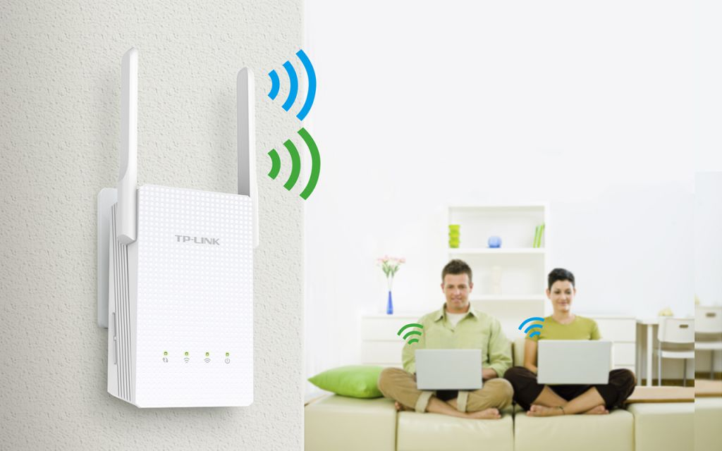 WiFi router TP-Link RE210 AP/Extender/Repeater, AC750 300Mbps 2,4GHz a 433Mbps 5GHz , slot SIM