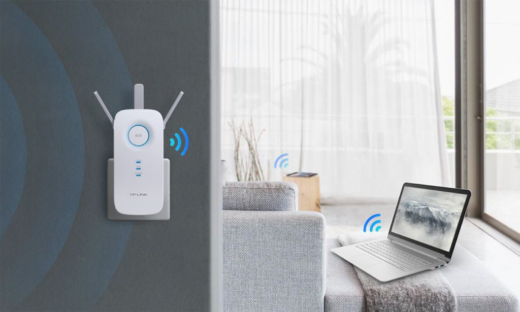 WiFi router TP-Link RE450 AP/Extender/Repeater - AC1750 450Mbps 2,4GHz a 1300Mbps 5GHz , fixní anténa