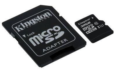 Paměťová karta Kingston microSDHC Class 10 32GB, UHS-I U1 45R/10W + adaptér