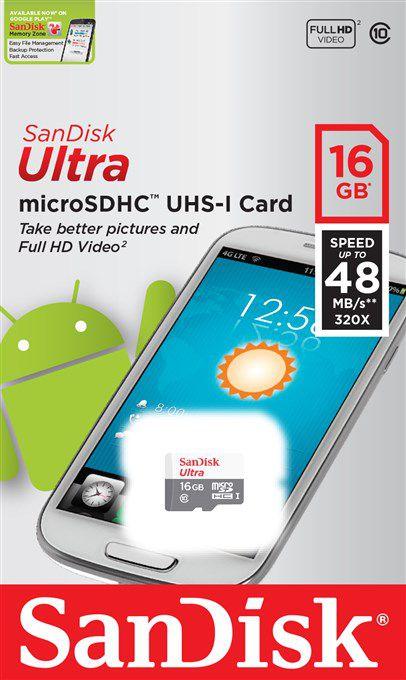 Paměťová karta Sandisk Ultra Android microSDHC 16 GB 48 MB/s Class 10 UHS-I