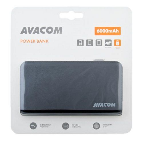 Baterie Avacom externí PWRB-6000AU Li-Ion články SONY, 6000mAh, 5V/2.1A, barva černá