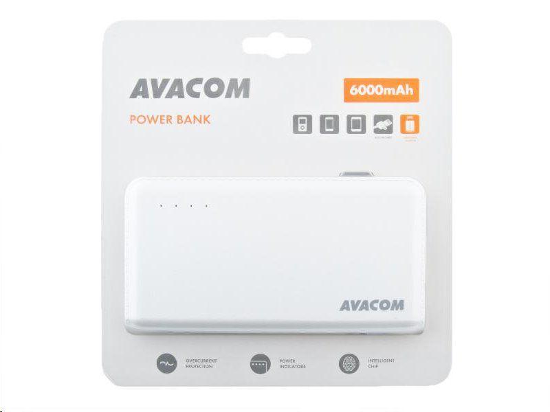 Baterie Avacom externí PWRB-6000AU Li-Ion články SONY, 6000mAh, 5V/2.1A, barva bílá
