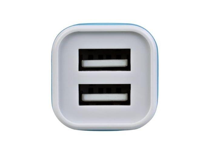 Nabíječka Avacom do auta s dvěma výstupy USB 5V/1A - 2,1A, barva bílo-modrá