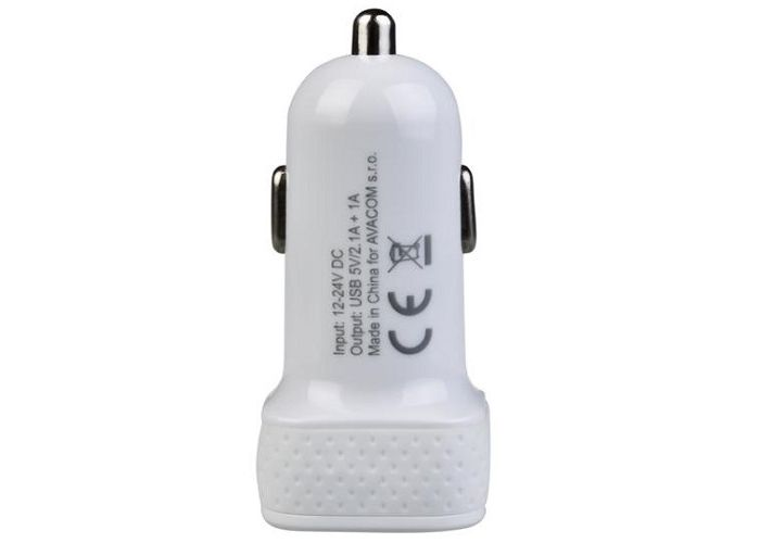 Nabíječka Avacom do auta s dvěma výstupy USB 5V/1A - 2,1A, barva bílá