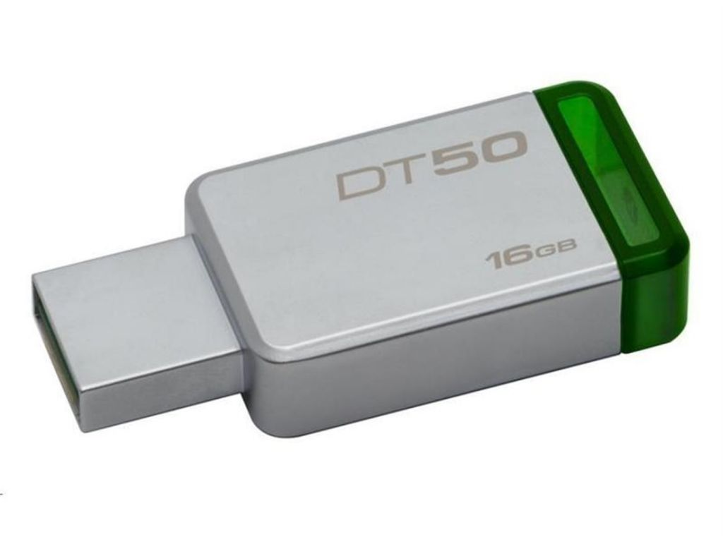 Flashdisk Kingston DT50 16GB, USB 3.0, kovová zelená