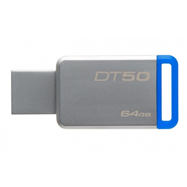Flashdisk Kingston DT50 64GB, USB 3.0, kovová modrá