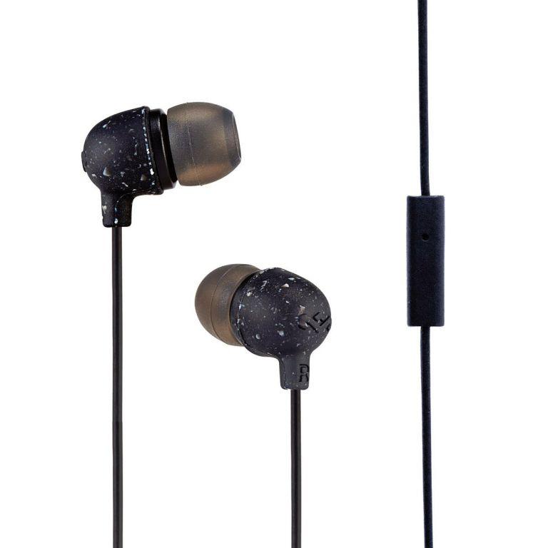 Sluchátka Marley  Little Bird - Black, sluchátka do uší s ovladačem a mikrofonem