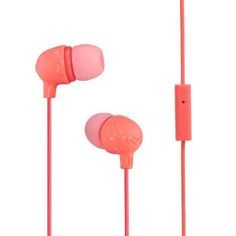 Sluchátka Marley  Little Bird - Peach, sluchátka do uší s ovladačem a mikrofonem