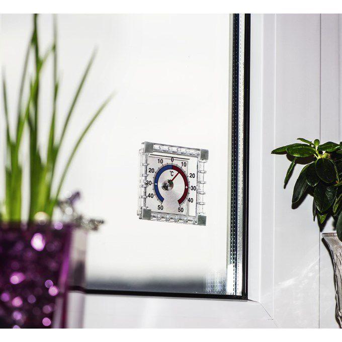 Teploměr Hama analogový okenní hranatý, 7,5 cm