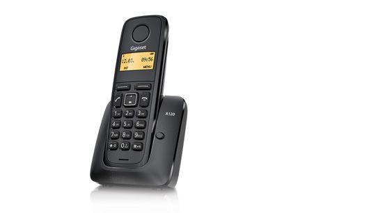 Bezdrátový telefon Gigaset  A120 Black DECT/GAP, barva černá, ROZBALENÝ