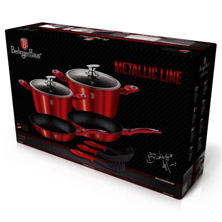 Sada nádobí Berlingerhaus BH-1228 Metallic Line s mramorovým povrchem 9 ks červená