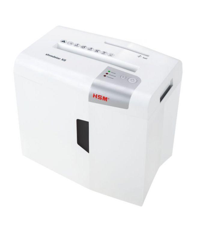 Skartovač HSM Shredstar X8 White, DIN P-4, 4x35mm, 8 listů, 18l, CD+DVD, Credit Card, Sponky