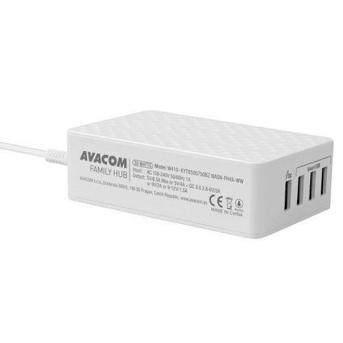 Nabíječka Avacom FamilyHUB síťová 4 portová s rychlonabíjením, quick charge, bílá