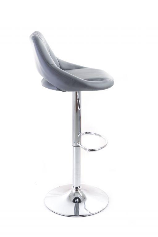 Barová židle G21 Aletra Grey koženková, prošívaná, šedá