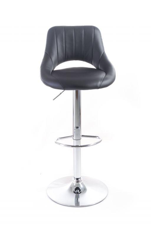 Barová židle G21 Aletra black koženková, prošívaná, černá