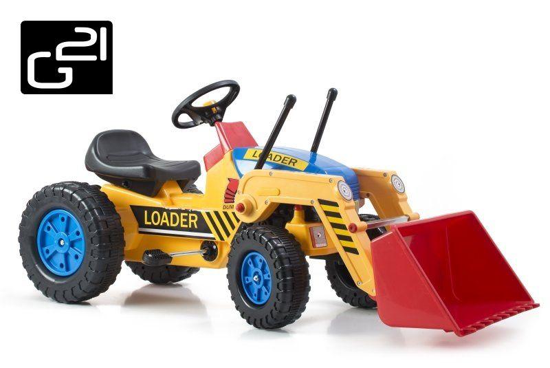 G21 51899 Šlapací traktor Classic s nakladačem žluto/modrý