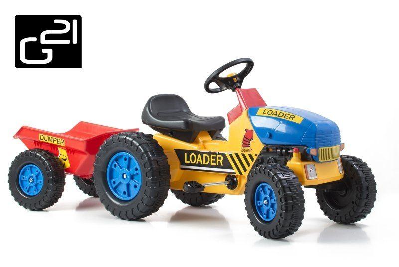 G21 51900 Šlapací traktor Classic s vlečkou žluto/modrý