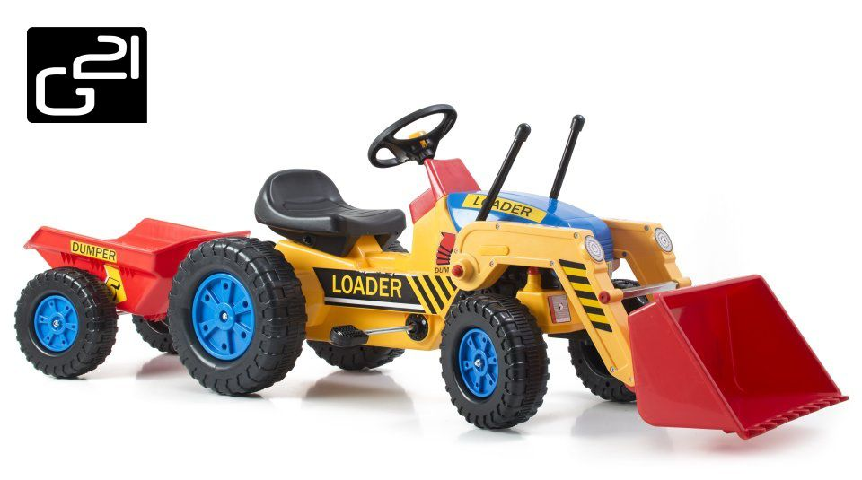 G21 51901 Šlapací traktor Classic s nakladačem a vlečkou žluto/modrý