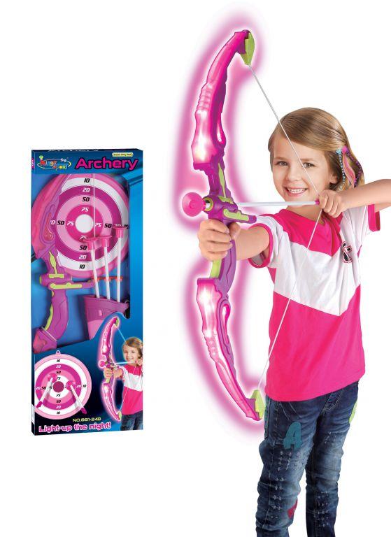 Hrací set G21 Luk svítící s terčem růžový
