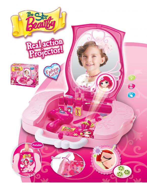 G21 51927 Hrací set Dětský kosmetický kufřík s příslušenstvím s projekcí