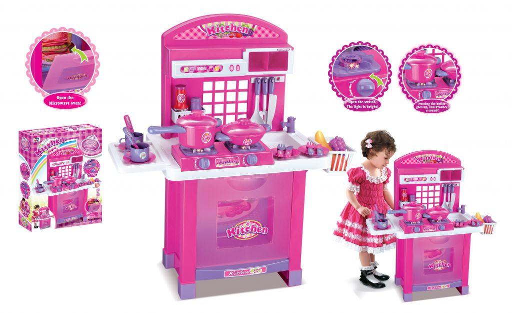 Dětská kuchyňka G21 Superior s příslušenstvím růžová