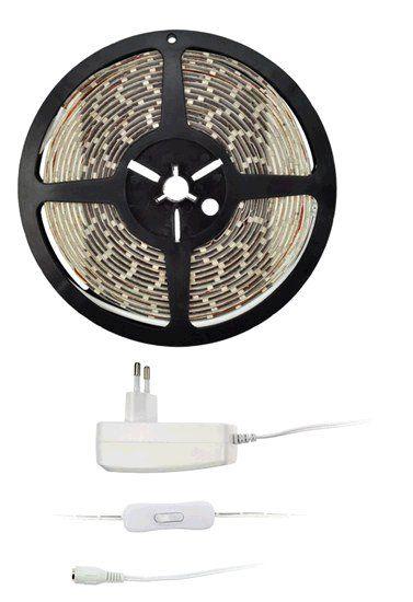 Sada Solight LED světelný pás s testrem, adaptérem, 5m, 4,8W/m, IP20, teplá bílá