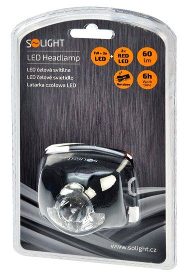 LED čelovka Solight WH19 1W + 3x LED, černá, 3 x AAA